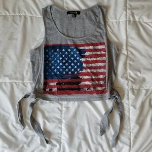 b6f0ff3622da Forever 21 · Forever 21 Cute American Flag Crop Top